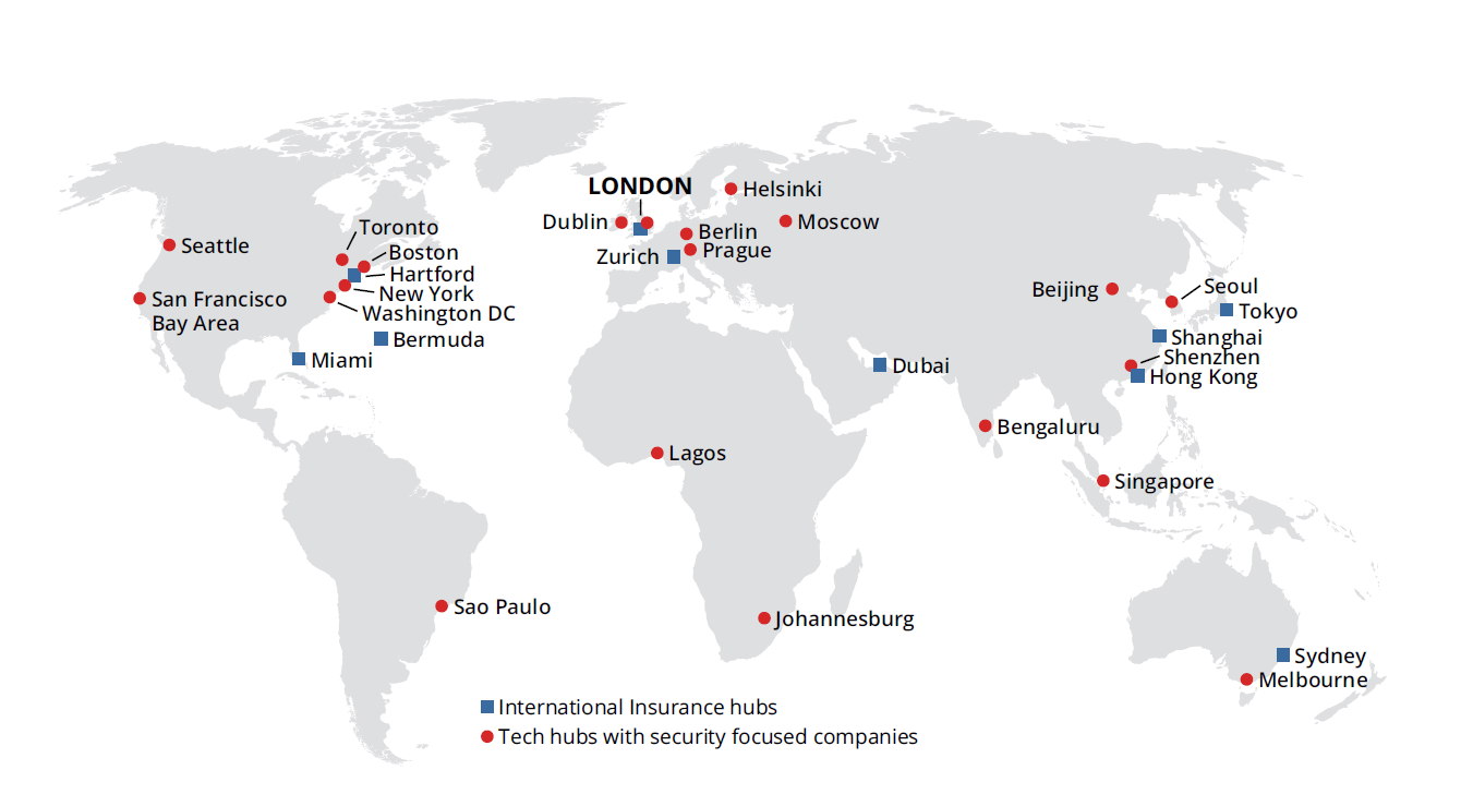 International Insurance hubs and Tech hubs with security focused companies